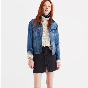 Madewell Black Lace-Up Mini Skirt